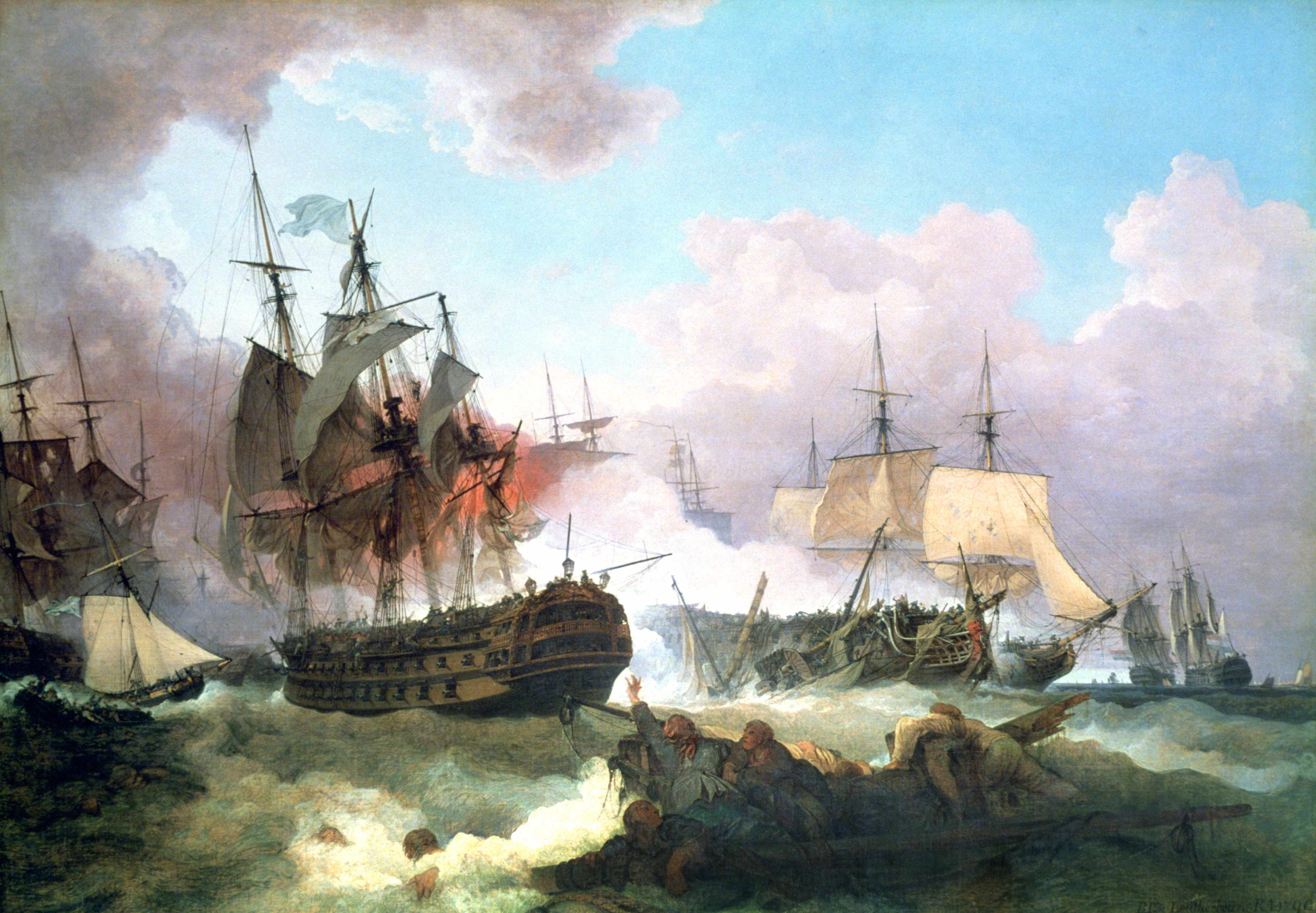 """An oil painting depicting the battle of Camperdown,a """"crushing British victory"""" over the Batavian (Dutch) Republic in the North Sea. (Universal History Archive/Getty Images)"""