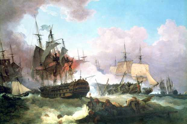 "An oil painting depicting the battle of Camperdown, a ""crushing British victory"" over the Batavian (Dutch) Republic in the North Sea. (Universal History Archive/Getty Images)"