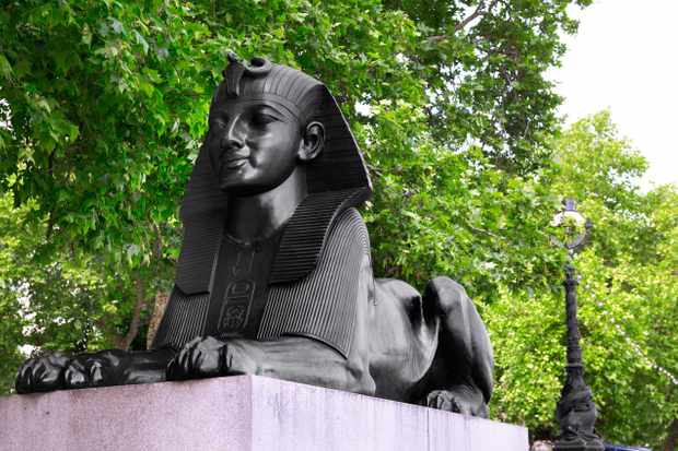One of the two 19th-century bronze sphinxes sited next to Cleopatra's Needle, London's oldest monument. (Peter Dazeley/Getty Images)