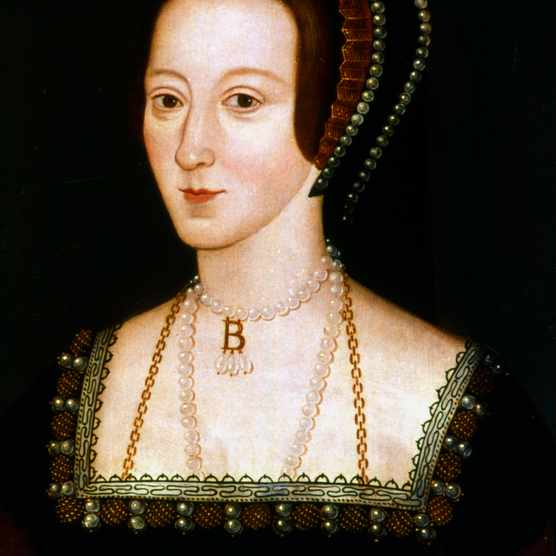 Written accounts describe Anne Boleyn as having dark, sparkling eyes –yet no undisputed portraits from her lifetime survive. The most familiar depictions of her are various representations of this portrait, in which she wears the famous B-portrait. (Ann Ronan Pictures/Print Collector/Getty Images)
