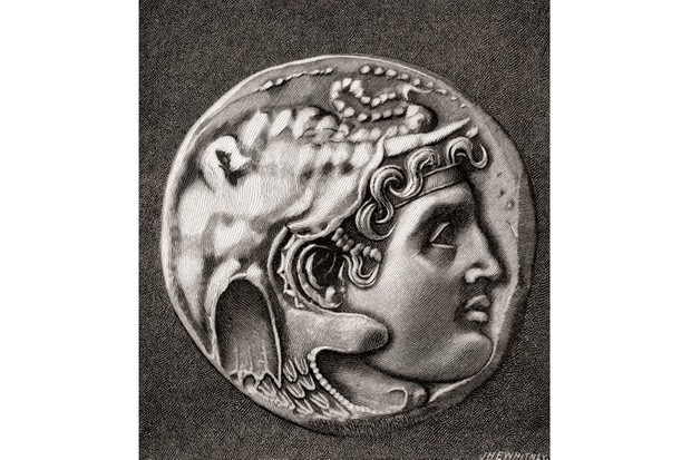 "A coin showing the head of Alexander the Great. ""No one else has ever come anywhere near his achievements,"" says Gregg Wallace. (Ken Welsh via Getty Images)"