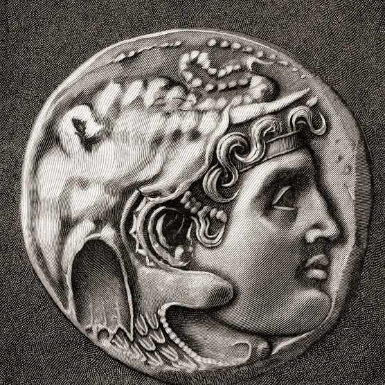 Coin showing the head of Alexander III of Macedon, 356 – 323 BC, aka Alexander the Great. King of the Ancient Greek kingdom of Macedon. From The Century Magazine, published 1887.