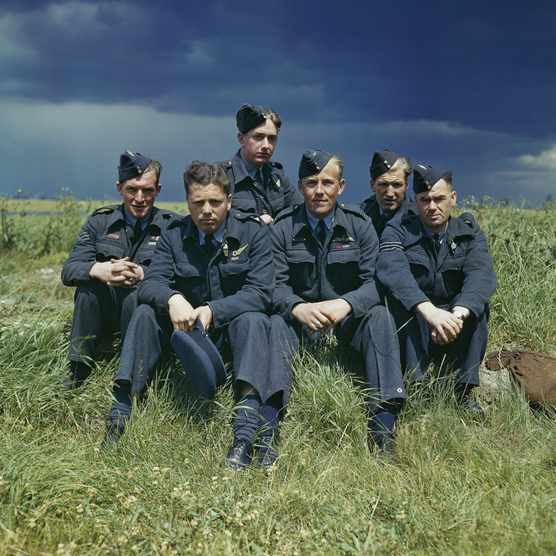 "A crew of Dambusters pictured together in c1943. The famed Dambusters raid, Operation Chastise, was an RAF attempt to breach German dams and so ""deprive Ruhr industry, and the Mittelland Canal of water, over the longest period of time possible"". (Royal Air Force Official Photographer/ IWM via Getty Images)"