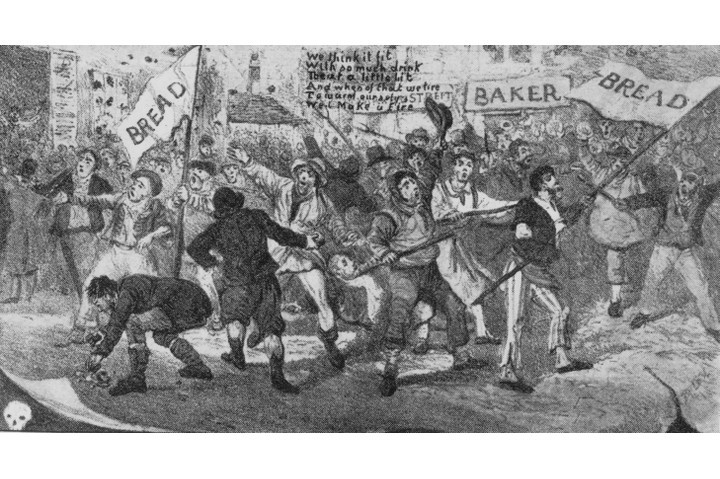 "A cartoonist's depiction of the Ely and Littleport riots. For the Tory government at the time, the riots were a ""frightening warning of the revolutionary anarchy beneath the surface of British life"", says Dominic Sandbrook. (Hulton Archive/Getty Images)"