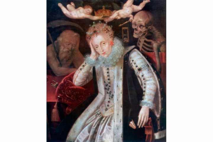 """This c1610 painting shows an elderly Elizabeth. The queen used """"gems and pearls"""" to divert attention from her decaying body, says Anna Whitelock. (The Print Collector/Print Collector/Getty Images)"""
