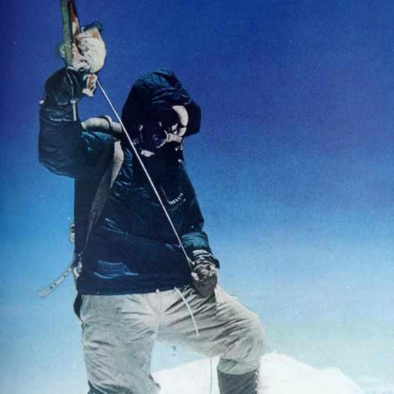 Nepalese Sherpa mountaineer Tenzing Norgay became the first climber to reach the summit of Mount Everest.