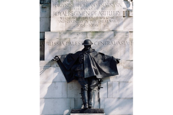 The Royal Artillery Memorial in London is a tribute to the immense power of artillery and its dominant role in the Great War. Pictured here is a bronze statue of a Royal Artillery driver, leaning back against the parapet in an attitude of exhaustion or contemplation. (Photo by View Pictures/UIG via Getty Images)