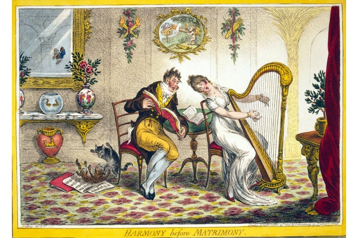 A 19th-century engraving. A young woman plays a harp, singing a duet with a man holding the music book, Duets de L'Amour. (Photo by Historica Graphica Collection/Heritage Images/Getty Images)
