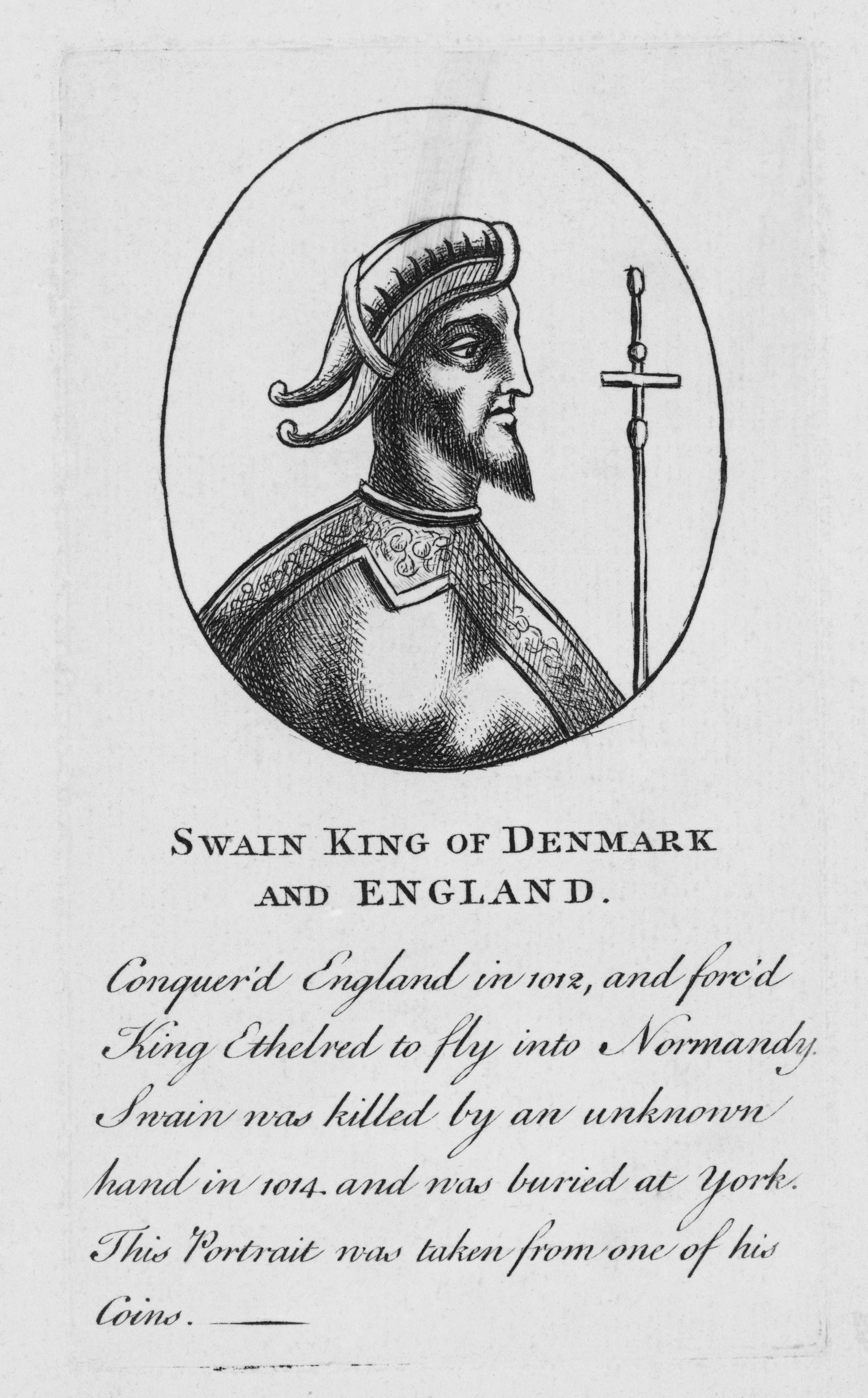 A portrait of Swein, king of Denmark and England, taken from one of his coins. (Getty Images)