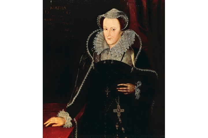 Painting of Mary, Queen of Scots wearing a dark dress