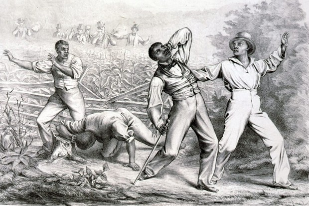 An illustration showing the effects of the Fugitive Slave Act,  passed by Congress in 1850. The law aimed to make it easier for slaveholders to reclaim runaway 'property' in the free states, and contributed to rising political tension. (Universal History Archive/UIG via Getty images)