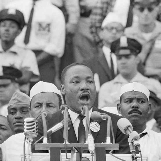 Photograph showing civil rights activist Martin Luther King Jr delivering his famous 'I Have A Dream' speech