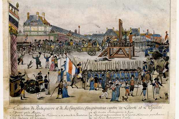 Robespierre is guillotined on 28 July 1794. Had he died two years earlier, his name would now be associated with liberty and equality, argues Marisa Linton. (Universal History Archive/Getty Images)