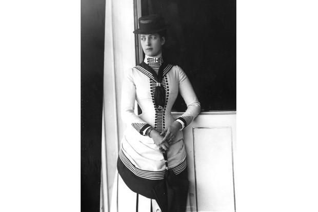 The then Princess Alexandra pictured here in 1884 wearing the high-necked, feminised version of the male suit that became associated with her. (Photo by Hulton Archive/Getty Images)