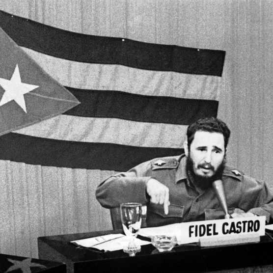 CUBA - OCTOBER 22:  Prime Minister Fidel CASTRO giving a radio and televised speech during which he speaks about the measures taken by the United States regarding Cuba. In fact, following the shipment of Soviet Union missiles to Cuba during the Cold War, the United States announced a blockade of the island.  (Photo by Keystone-France/Gamma-Keystone via Getty Images)