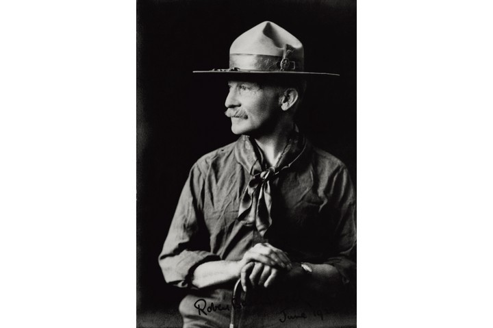 "Robert Baden-Powell in the 1920s. ""He was relentlessly positive – with phrases like 'kick the ""im"" out of the word impossible,"" says Bear Grylls. (Photo by Mondadori Portfolio via Getty Images)"