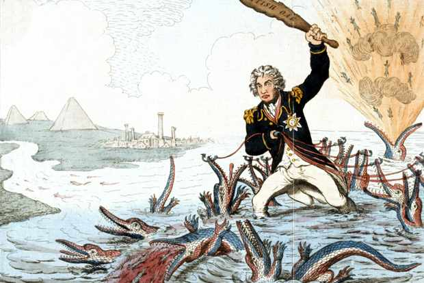 Nelson stands in the Nile culling crocodiles in James Gillray's cartoon 'Extirpation of the Plagues of Egypt' (1798). The crocodiles represent captured or destroyed French ships at the battle of the Nile, while Nelson is cast as a cross between Moses and Hercules. (Archiv Gerstenberg/ullstein bild via Getty Images)