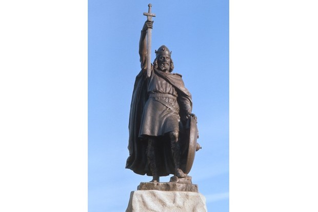 "Hamo Thornycroft's 1901 statue of King Alfred the Great in Winchester. Acknowledging the good fortune played a role in Alfred's reign is important, says Alex Burghart, ""as it reveals just how fragile the conditions were that surrounded the birth of England."" (Photo by RDImages/Epics/Getty Images)"