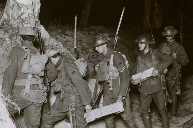 Troops on a night raid during the First World War