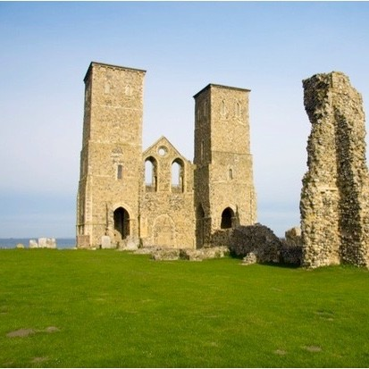 A view of the Reculver Towers, Reculver, England. (Photo by Loop Images/UIG via Getty Images)