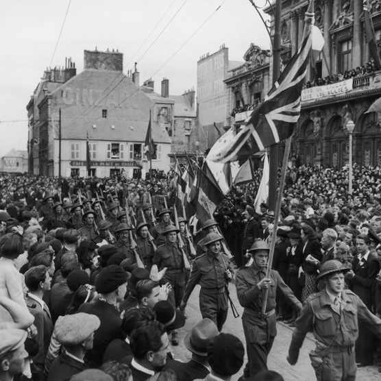 British troops marching in celebration of Bastille Day, c1944. (FPG/Hulton Archive/Getty Images)