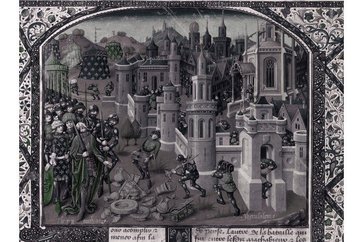 A painting of the Pillage of Jerusalem by Antiochus