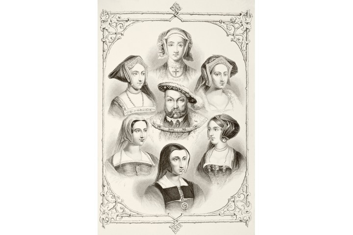 An illustration of King Henry VIII and his six wives