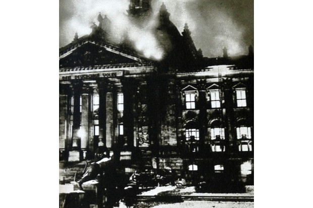 The Reichstag building on fire