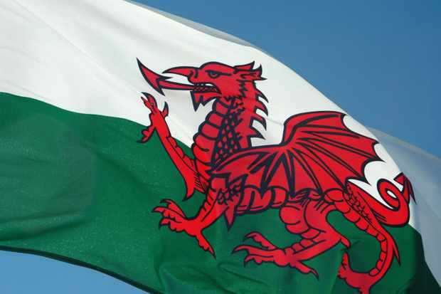 Welsh flag, featuring a dragon. The red dragon of Wales dates back to Roman times. (Photo by Getty Images)