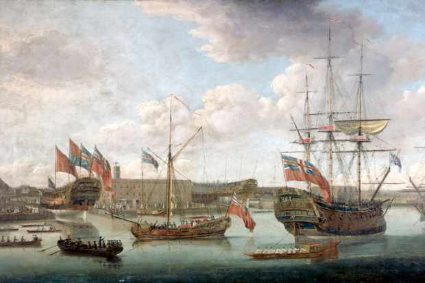 An oil painting by John Cleveley The Elder depicting the Royal Naval Dockyard