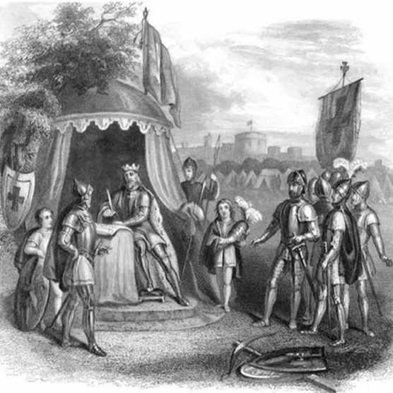An illustration depicting King John signing Magna Carta in 1215. (Photo by The Print Collector/Print Collector/Getty Images)