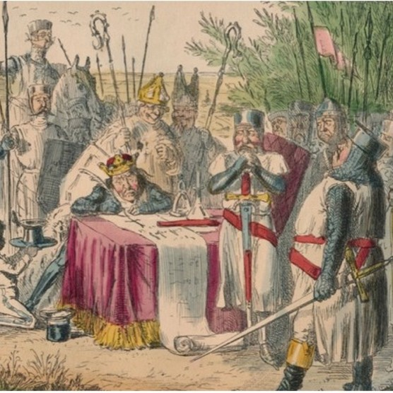 A c1850 satirical illustration of King John signing Magna Charta. (Photo by the Print Collector/Getty Images)