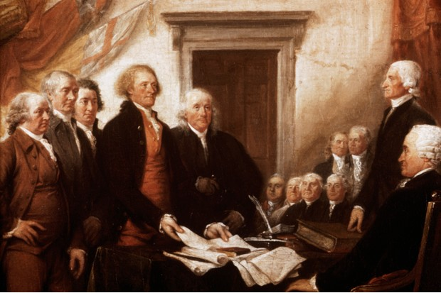 A depiction of the signatories of the Declaration of Independence