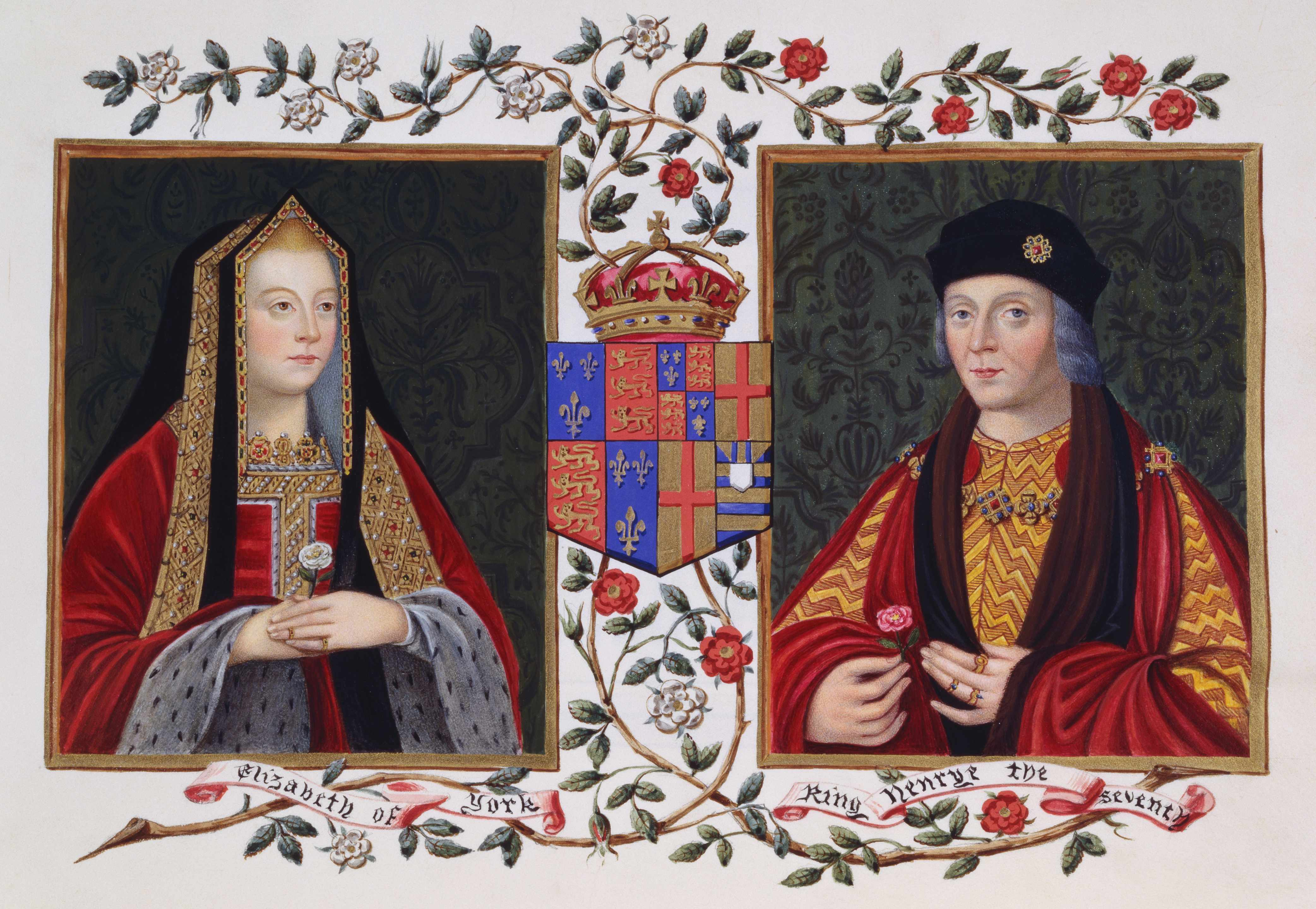 An illustration of Elizabeth of York and Henry VII.
