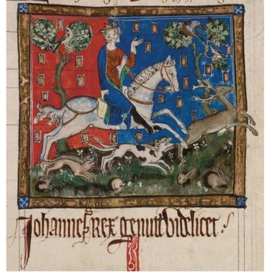 King John hunting on horseback, 14th century. The contention that his badness was a later invention simply doesn't stack up, argues Marc Morris. (Photo by Fine Art Images/Heritage Images/Getty Images)