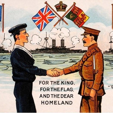 A vintage colour postcard featuring servicemen of Britian's Royal Navy and Army and the flags of her allies, France and Russia, during the First World War, published c1914. (Photo by Popperfoto/Getty Images)