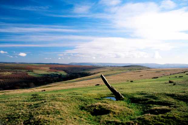 An early Christian standing stone situated in an open field at Gelligaer Common near Merthyr Tydfil, Wales. (Getty Images)