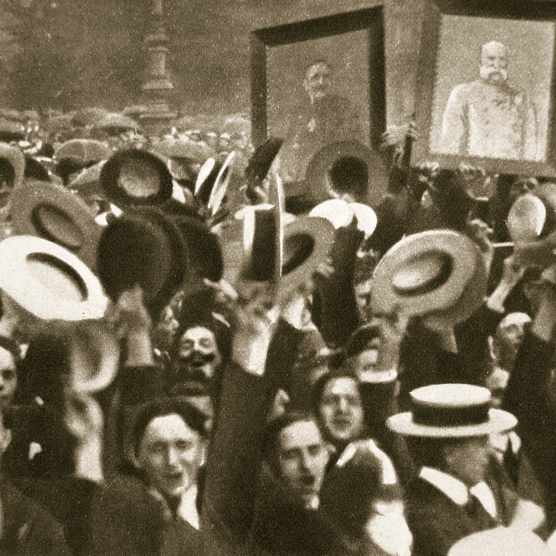 A photograph of a crowd in Berlin celebrating Kaiser Wilhelm II of Germany's proclamation of war against Great Britain, August 1914. (Photo by Historica Graphica Collection/Heritage Images/Getty Images)
