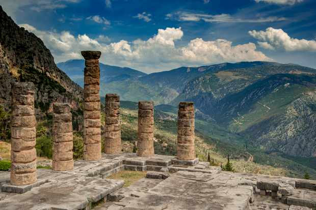The ruins of the Temple of Apollo, Delphi, Greece. (Getty Images)