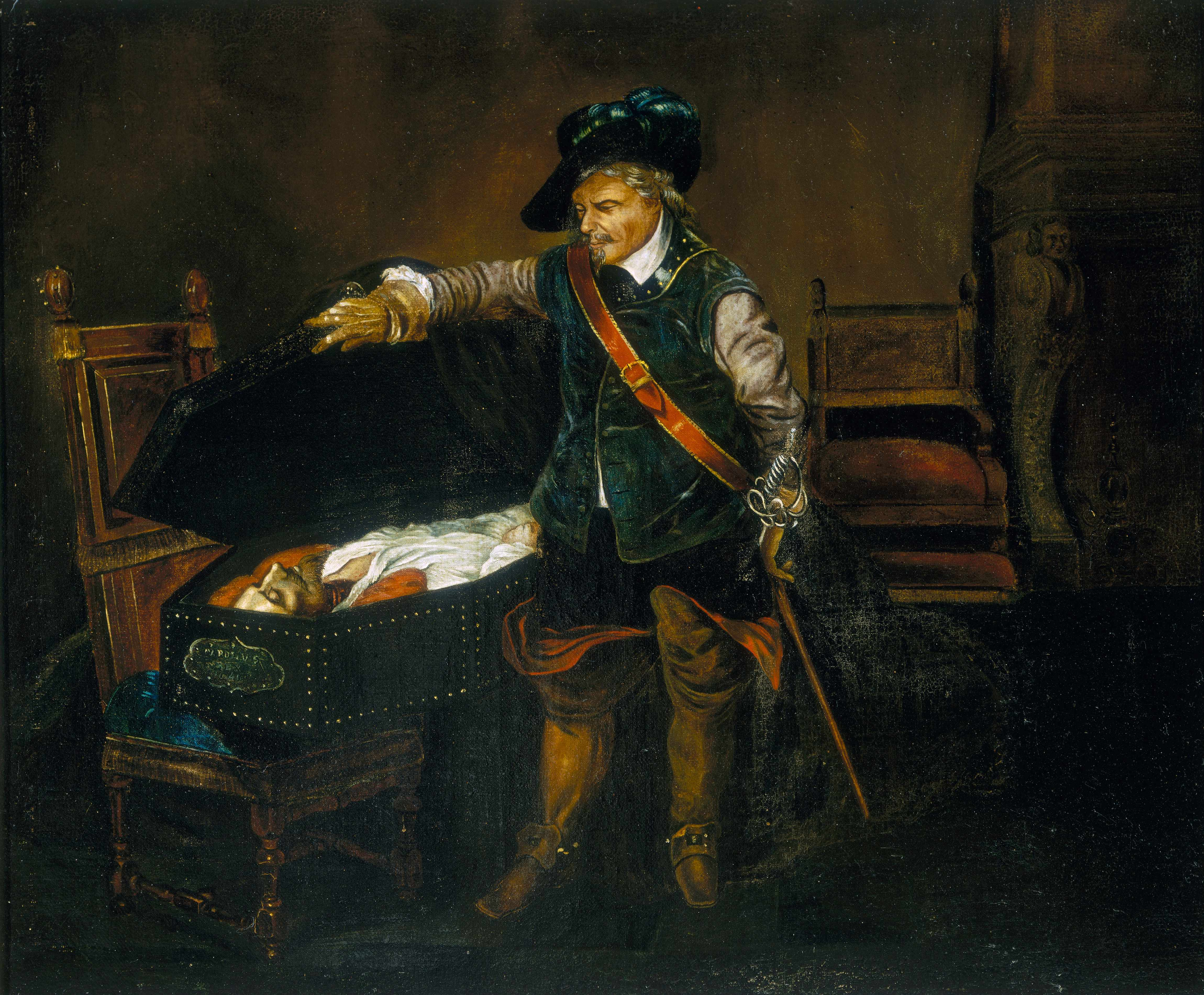 A painting depicting Oliver Cromwell gazing at the body of Charles I