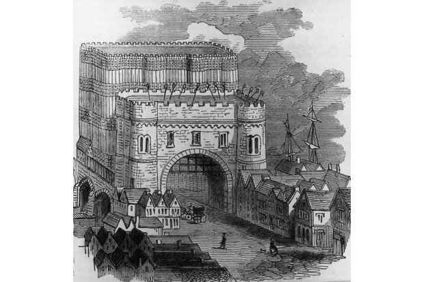 An illustration depicting the heads of traitors displayed on pikes over the Stone Gateway of Old London Bridge, c1600. (Photo by Hulton Archive/Getty Images)