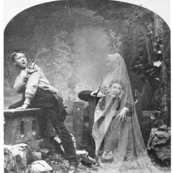 Trick photograph. (Photo by LM Melander and Brothers) entitled 'The Haunted Lane,' depicts a pair of men terrified by a female ghost, mid-to-late 19th century. (Photo by PhotoQuest/Getty Images)