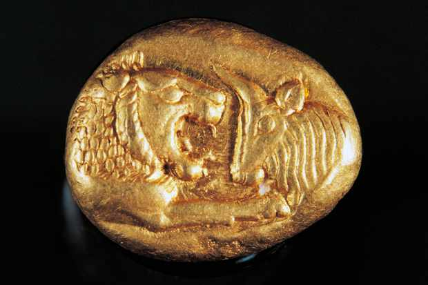An ancient Greek gold coin