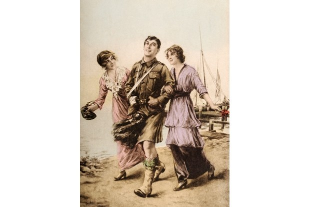 A vintage postcard illustration featuring a soldier of the London Scottish regiment with two young ladies in France during the First World War, c1915. (Photo by Popperfoto/Getty Images)