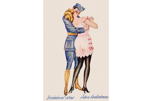 A vintage postcard featuring a soldier on leave kissing a young woman in lingerie during the First World War, published in Paris, c1918. (Photo by Popperfoto/Getty Images)
