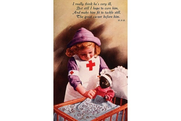 A vintage illustration featuring a little girl in a Red Cross uniform tending to her injured doll, published in London during the First World War c1916. (Photo by Popperfoto/Getty Images)