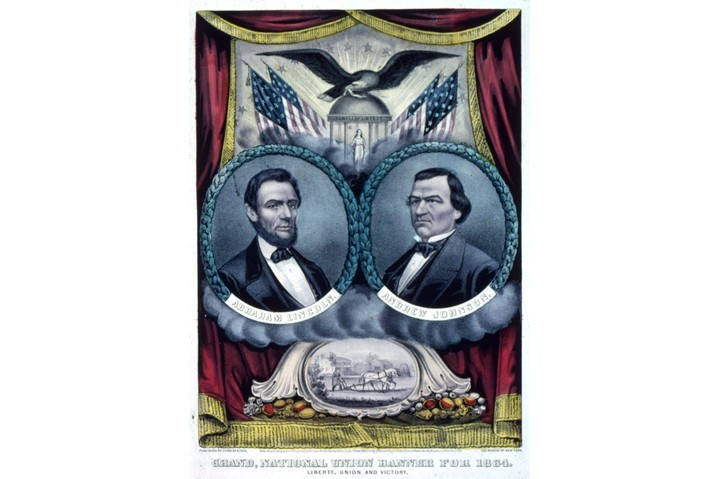 A Grand National Union Banner depicting president Abraham Lincoln and his running mate Andrew Johnson