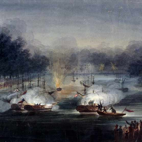 View of a sham fight on the Serpentine, Hyde Park, London, 1814