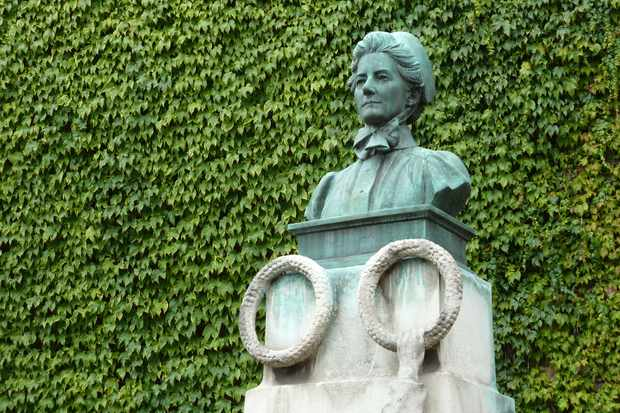 A statue of celebrated English nurse and wartime heroine, Edith Cavell