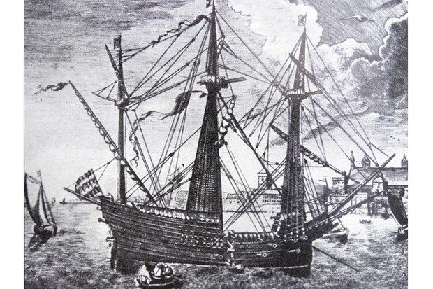 A 16th-century illustration of the 'Golden Hind'